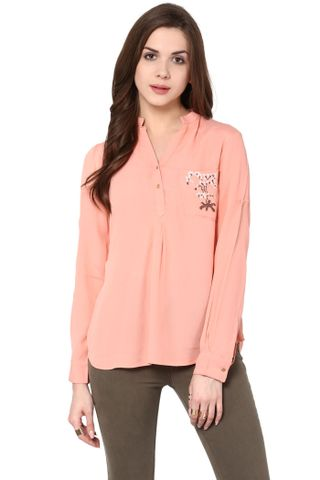 Front Button Down Top In Peach Color With Embroidery Detail / TSF400773