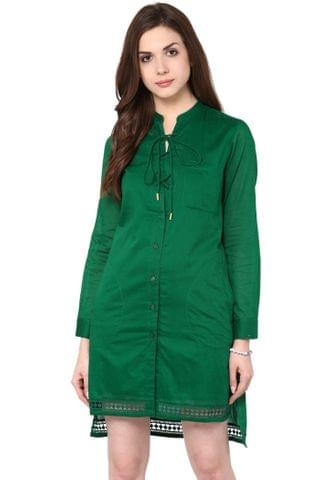 Front Button Down Long Shirt Dress In Green Color With Lace Detailing At Edge / DRF500612