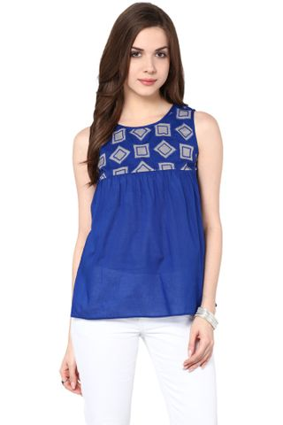 Flare Top In Blue Color With Embroidery At Yoke Part / TSF400783