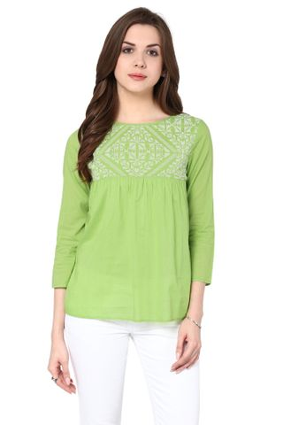 Flare Top In Green Color With Embroidery At Yoke Part / TSF400793