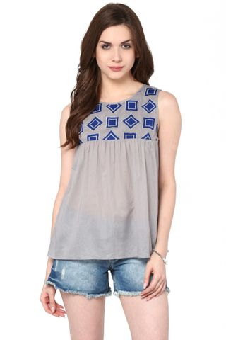 Flare Top In Grey Color With Embroidery At Yoke Part / TSF400796