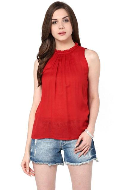 Tent Top In Red Color With Ruffles At Neckline / TSF400820