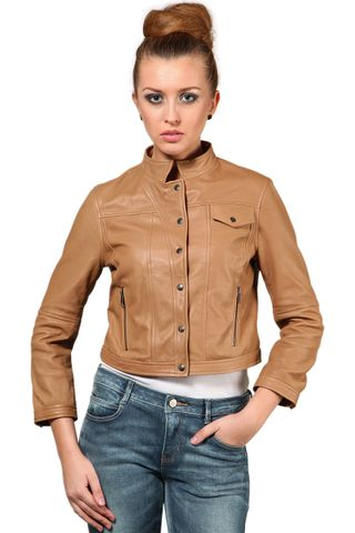 100% Pure Soft Lamb Sand Leather Jacket /JKF1355
