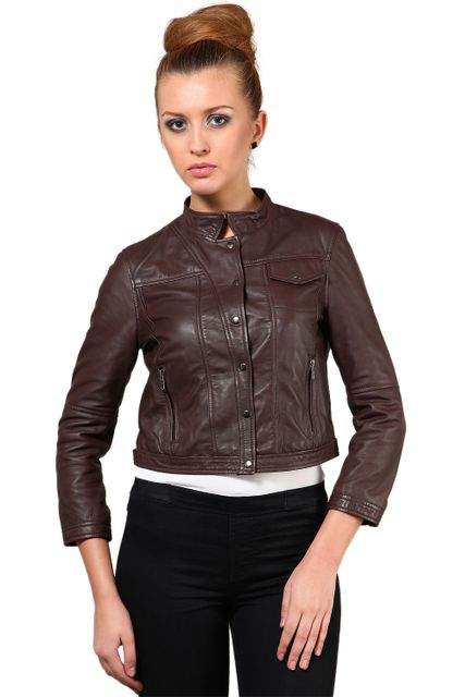 100% Pure Soft Lamb Brown Leather Jacket /JKF1356
