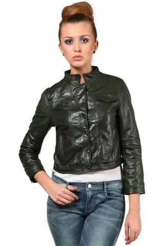 100% Pure Soft Lamb Green Leather Jacket /JKF1357
