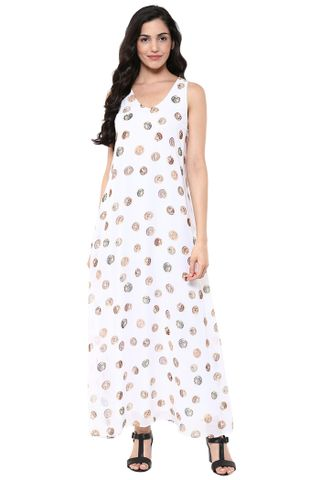 A-Line Maxi Dress In White Print With Side Pockets /DRF500624