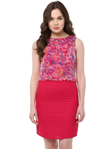 Bodycon Dress In Fuchsia Color With Back Button Through /DRF500449