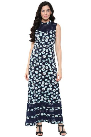 Maxi Dress In Multi Color Print With Side Slits /DRF500621