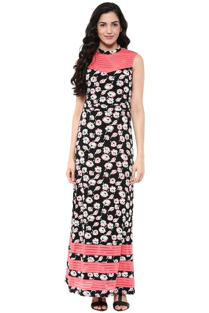 Maxi Dress In Multi Color Print With Side Slits /DRF500619