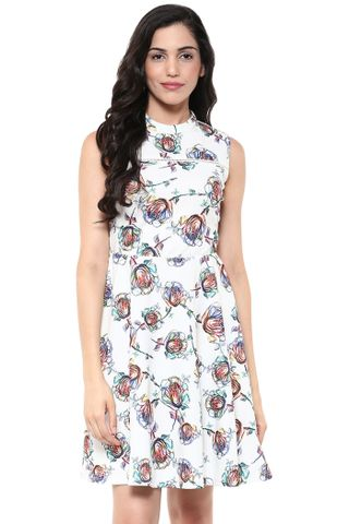 Skater Dress In White Floral Print /DRF500613