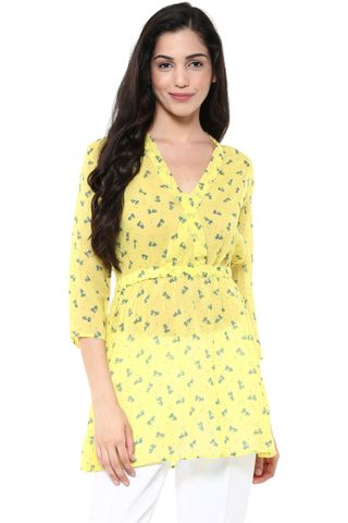 Front Overlapped Shirt Dress In Yellow Print /DRF500645