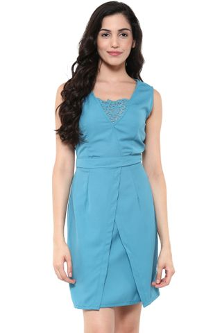 Bodycon Dress In Teal Color With Front Overlapped Body Part /DRF500487