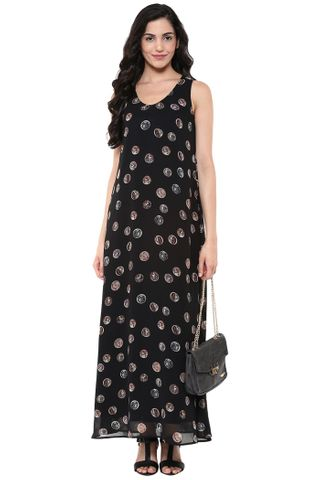 A-Line Maxi Dress In Black Print With Side Pockets /DRF500626
