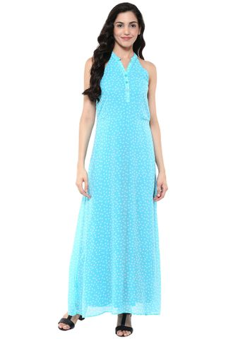 Maxi Dress In Blue Print With Front Placket Detail /DRF500651