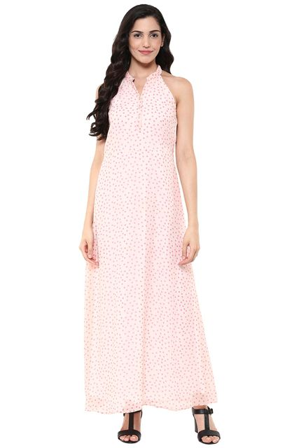 Maxi Dress In Pink Print With Front Placket Detail /DRF500653