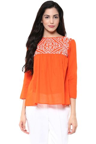 Flare Top In Orange Color With Embroidery At Yoke Part /TSF400785