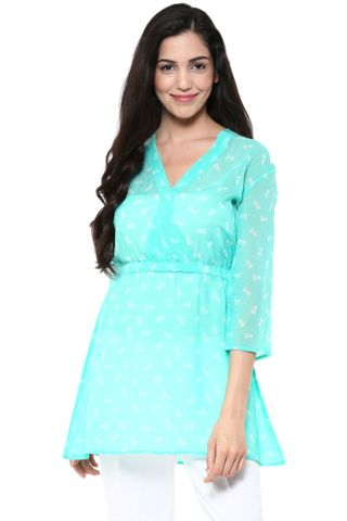 Front Overlapped Shirt Dress In Green Print /DRF500648