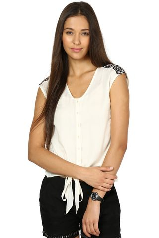 Off White Top In Moss Viscose Fabric /TSF2604