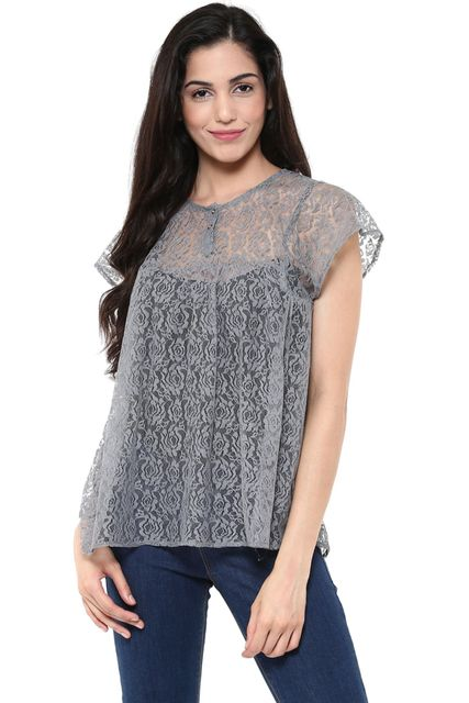 Flare Top In Grey Color /TSF400838