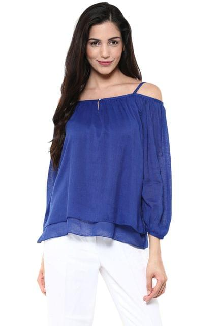Cold Shoulder Layered Top In Blue Color /TSF400819