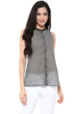 Front Button Down Shirt In Black And White Checks With Ruffles At Neckline /TSF400789