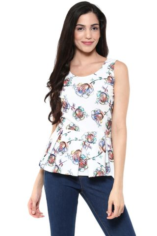 Peplum Top In White Floral Print /TSF400797