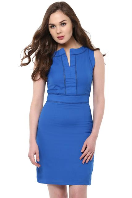Bodycon Dress In Blue Color With Ladder Lace Detailing At Body Part /DRF500488