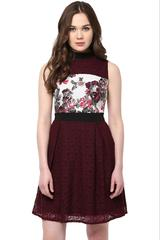 Skater Dress In Floral Print With Lace Overlay And Keyhole Detailing At Back /DRF500461