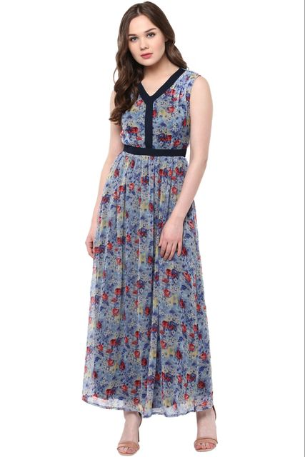 V Neck Maxi Dress In Indigo Print With Lace Placket Detailing /DRF500470