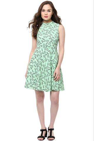 Skater Dress In Teal Print With A Thin Waist Band /DRF500551
