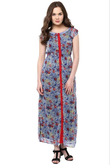 Front Button Down Maxi Dress In Indigo Print With Side Slit /DRF500474