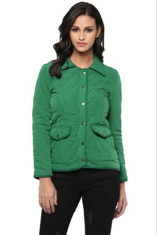 Solid Green Quilted Jacket With Shirt Collar /JKF450199
