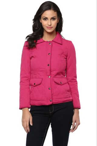 Solid Fuchsia Quilted Jacket With Shirt Collar /JKF450200