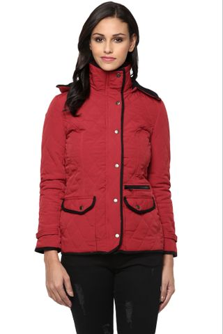 Solid Red Quilted Hooded Jacket /JKF450202