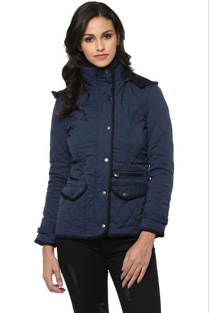 Solid Navy Quilted Hooded Jacket /JKF450203