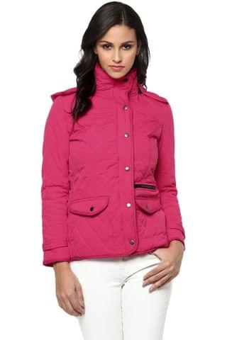 Solid Fuchsia Quilted Hooded Jacket /JKF450204