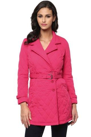Solid Fuchsia Quilted Trench Coat /JKF450206