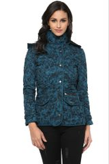 Printed Teal Quilted Hooded Jacket /JKF450216