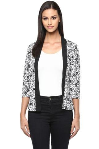 Front Open Light Weight Jacket In Black Print /JKF450210