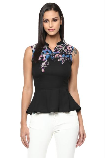 Black Casual Top In Printed Fabric /TSF400251