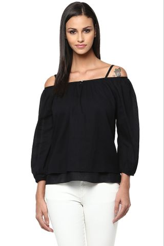 Cold Shoulder Layered Top In Black Color /TSF400842