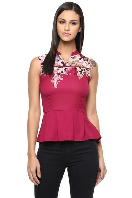 Marsala Casual Top In Printed Fabric /TSF400270