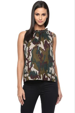 Tent Top In Green Camouflage Print With Ruffles At Neckline /TSF400843