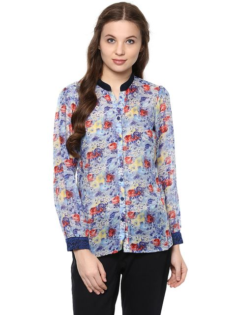 Front Button Down Shirt In Indigo Print With Lace At Cuff /TSF400630