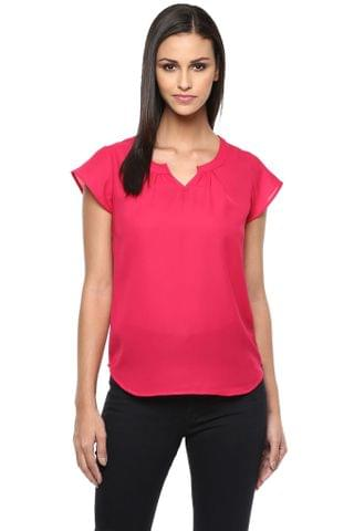 Top In Fuchsia Color With Pleats At Front And Back Neckline-3/4Th Sleeves /TSF400854