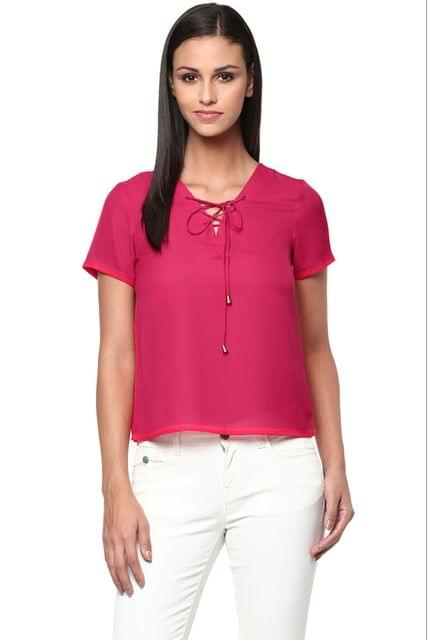 Top In Fuchsia Color With Front Lace Up /TSF400860
