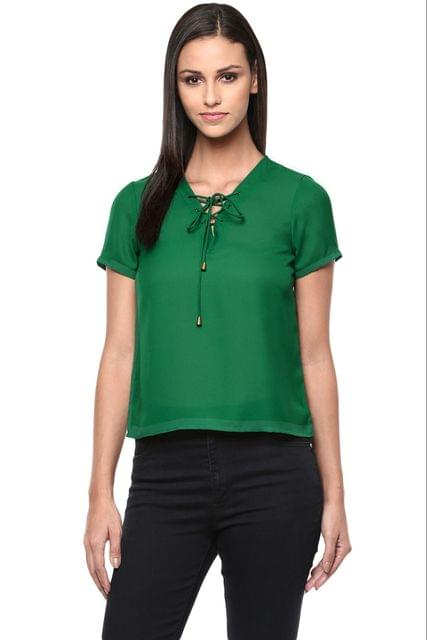 Top In Green Color With Front Lace Up /TSF400861