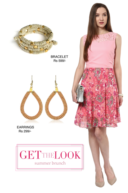 Skater Dress In Pink Color With Lace At The Yoke /STL500322