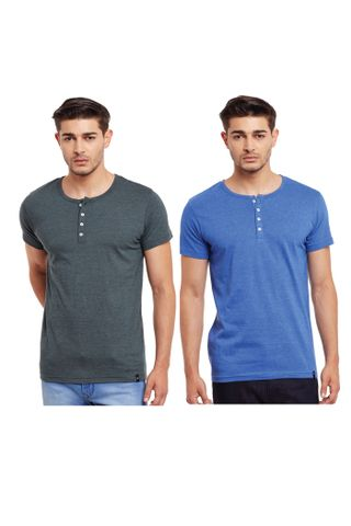 Pack of Two Solid Henley T-shirt Combo /CMT660000