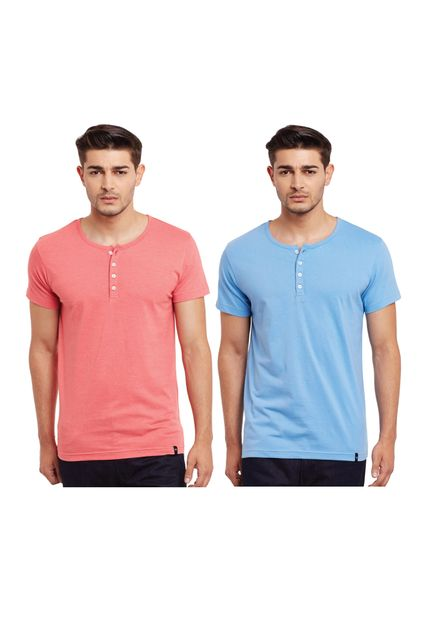Pack of Two Solid Henley T-shirt Combo /CMT660001